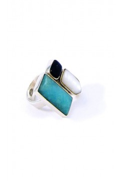 Andean Opal with Mother of Pearl and Sodalite Ring