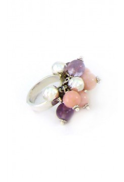 Rose Quartz, Amethyst and Silver Cluster Ring