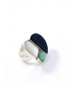 Sodalite with Mother of Pearl and Andean Opal Ring