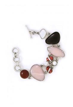 Mother of pearl, Smoke quartz mixed Stone Bracelet
