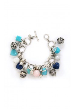 Silver Balls and Sodalite Hearts Bracelet