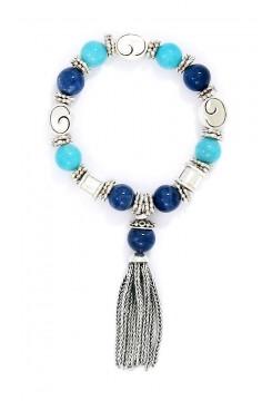 Andean Opal and Sodalite Tassel Bracelet