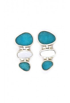 Andean Opal and Mother of Pearl Earrings