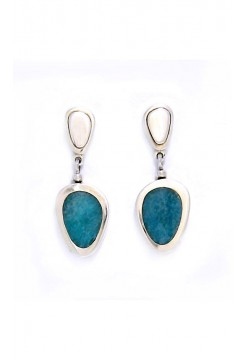 Silver Drop Earrings with Andean Opal Pebble Stones