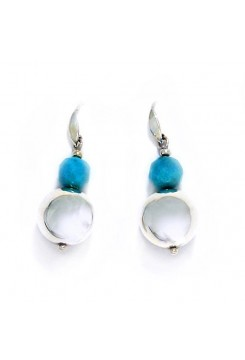 Silver Drop Earrings with Andean Opal Cut Stones