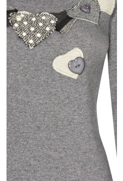 Heart Patchwork Knitted Jumper