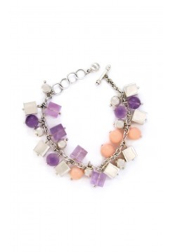 Amethyst, Rose Quartz and Silver Bracelet