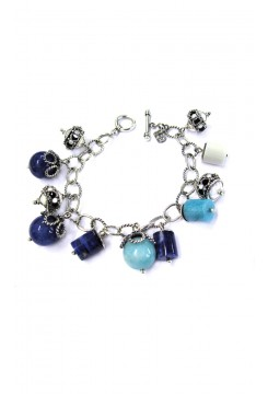 Sodalite Cylinders and Silver Balls Bracelet