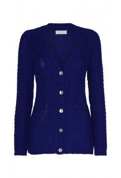 Royal Blue Cable Knit Cardigan