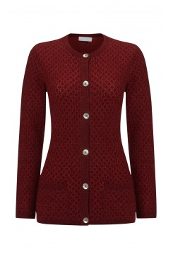 Burgundy Diamond Knit Cardigan