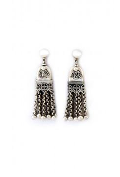 Silver Tassel Drop Earrings
