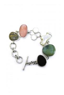 Carnelian, Andean Opal mixed Stone Bracelet