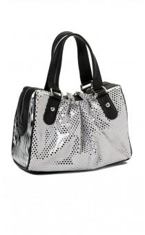 Silver Metallic Spot Tote Bag