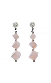 Rose Quartz Cube Drop Earrings