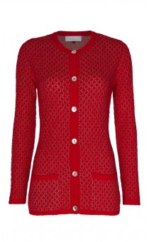 Red Diamond Knit Cardigan